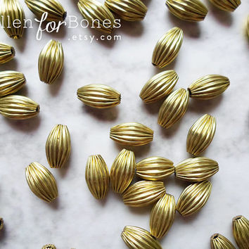 8 pcs ∙ Vintage Brass Oval Corrugated Beads Olive Fluted Hollow Spacers Jewelry Supplies