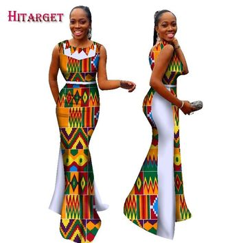2017 New Bazin Riche African Dresses for Woman Print Splice O Neck Mermaid Dresses Dashiki African Traditional Clothing WY1694