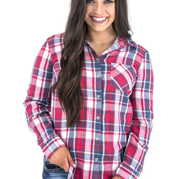 Women's Tribal Plaid Button Down Shirt with Contrasting Floral Back