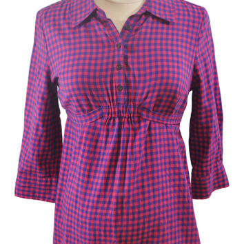Red & Blue Plaid Collared Long Sleeve Shirt by GAP