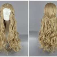 Promotion Maleficent Princess Aurora 70cm Long Wave Blonde Synthetic Party Cosplay Wig,Colorful Candy Colored synthetic Hair Extension Hair piece 1pcs WIG-016D