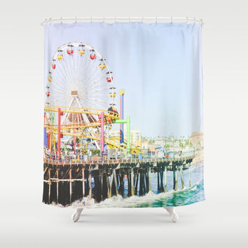 Santa Monica Pier SHOWER CURTAIN Bathroom California Decor Surf Summer Blue Ocean