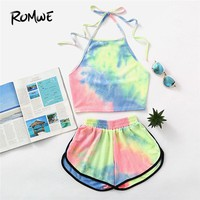 ROMWE Halter Neck Water Color Crop Top With Ringer Shorts 2018 Summer Sleeveless Tie Dye Shorts New Arrival Women Sets