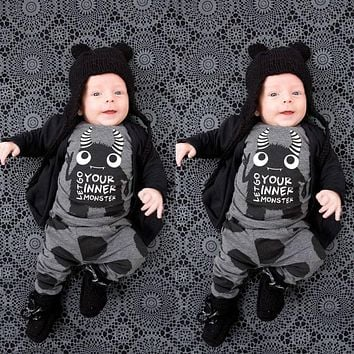 Baby boy clothes cotton long sleeve little monsters