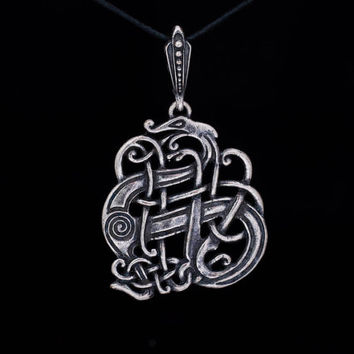 Celtic Serpent Pendant, silver-plated brass, handmade ..... Norse Jewelry, Viking Jewelry, Celtic Jewelry