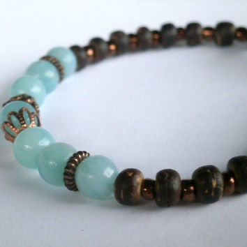 Eco-Friendly Bracelet. Natural Gemstone Bracelet. Eco-Friendly Jewelry. Light Blue Amazonite Wood Beads. Boho Bracelet. Boho Jewelry. OOAK
