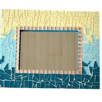 Teal, Aqua and Yellow Ombre Mosaic Mirror