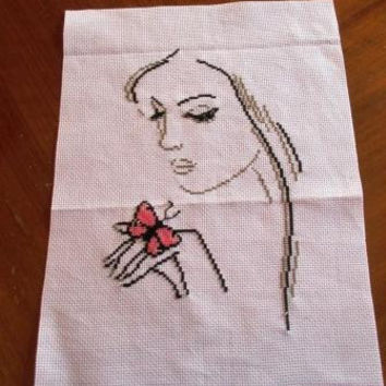 Girl with a butterfly on her hand Finished cross stitch Original DMC Free shipping Worldwide