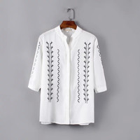 White Floral Embroidered Mandarin Collar Sleeve Button Shirt