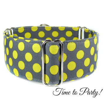 Neon Yellow & Grey Martingale Dog Collar, Buckle Collar, Greyhound Tag Collar, Whippet Collar, Italian greyhound, great dane, galgo, borzoi