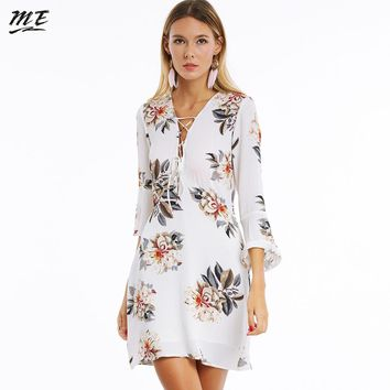 ME Women Chiffon Dress Sexy Elegant V-Neck Lace Up Flare Sleeve Mini Dress Casual Summer Female Floral Evening Party Vestidos