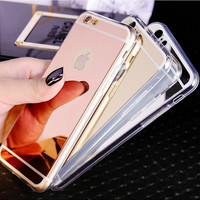 Fashion Luxury Ultra Slim Soft Case For Iphone 5S Clear Silicone Edge PLUS1 Shinny Mirror Back Cover For Iphone 5 5S 5G Phone Cases