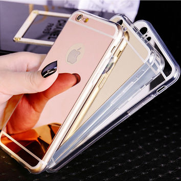 Luxury Ultra Slim Soft Case For Iphone 5S Clear Silicone Edge + Shinny Mirror Ba