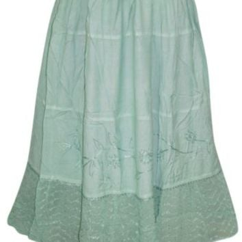 Womens Skirts Green Embroidered Elastic Waist Boho Gypsy Hippie Medieval Skirts