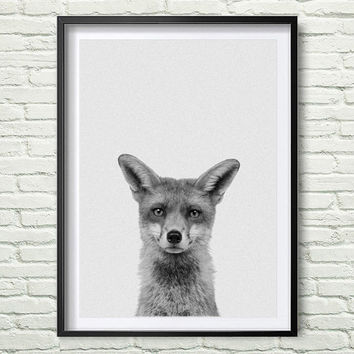 Fox Print, Woodlands Nursery, Wilderness Fox Wall Art, Animal Print, Printable Art, Black and White Nursery Decor, Printable Art *58*