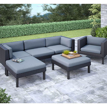 CorLiving PPO-805-Z Oakland Textured Black Weave Six-Piece Sofa with Chaise Lounge and Chair Outdoor Patio Set