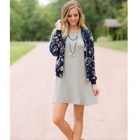 Womens Jacket Blue Floral Print Baseball Coat +Gift Necklace