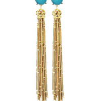 Jaimie Nicole | Turquoise Gold Tassel Earrings