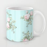 Shabby chic roses pink and mint Mug by Mercedes