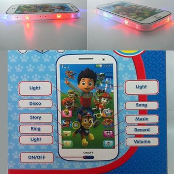 CREYUG3 Paw patrol style Kid Toy  phone Educational English Language learning machine toy mobile phone multi story  baby phone with Colorful light = 1945875908