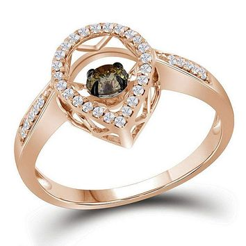 10k Rose Gold Women's Round Cognac-brown Diamond Solitaire Ring - FREE Shipping (US/CA)