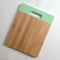 Bamboo Cutting Board Medium in Mint Green, Wood cutting board, Kitchen Decor