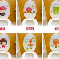 27.7*20.5cm Removable Wall Decals Cute Pattern Bathroom Toilet Stickers Glass Decoration Stickers Home Decor Art Decals