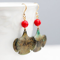 Patina Ginkgo Earrings Red Bead Verdigris Ginkgo by SilentRoses