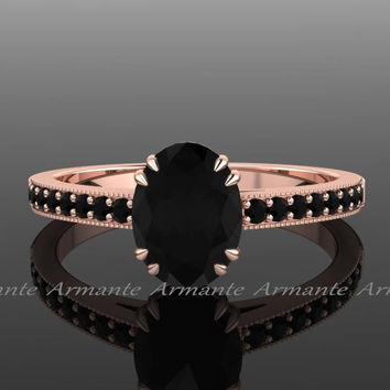 Black Diamond Engagement Ring, Natural Black Diamond Vintage Style Engagement Ring 14k Rose Gold Oval Diamond Ring Re00014r