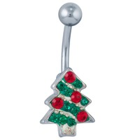 FreshTrends Green & Red Gemstone Christmas Tree Belly Button Ring