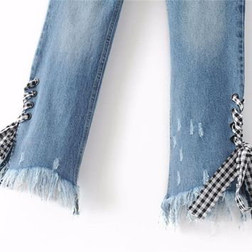 Plaid Lace Up Straight Jeans