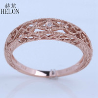 HELON Hot Jewelry Solid 14k/585 Rose Gold SI/H Diamonds Vintage Band Filigree Art Nouveau Antique Wedding & Anniversary Ring