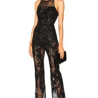 Zuhair Murad Embellished Lace Sleeveless Jumpsuit in Black   FWRD