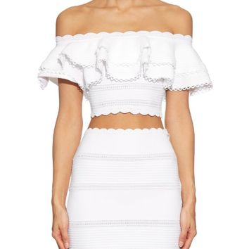 Ruffle off-the-shoulder cropped top | Alexander McQueen | MATCHESFASHION.COM US