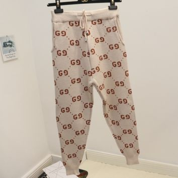Gucci winter new knit pants double G word wild wool trousers casual pants
