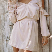 Fashion Solid Color V-Neck Hollow Frills Long Sleeve Strap Mini Dress