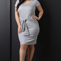 Ribbed Knit Tied Waist Dress