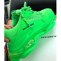 Balenciaga Shoes High Quality Contrast Crystal clear shoes Triple sole Shoes Green