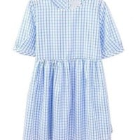 Gingham Checks High Waist Cotton Dress with Short Sleeves