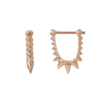 Spike Huggie Hoop Small Size 14K Solid Gold Dangle Earrings ~ In Stock!!! Ready to Ship! (Detailed Dainty Front to Back Style Hinged Hoops)