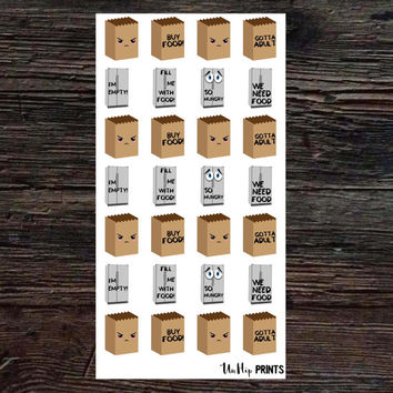 Adulting Stickers, Food Stickers, Meal Stickers, Grocery Shopping Stickers, Planner Stickers, Grocery Bag Stickers, Grocery Planner (#177)
