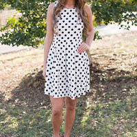 White Polka Dot Pleated Party Dress