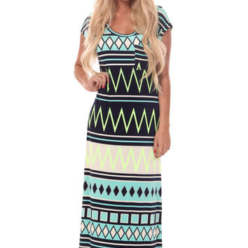 Neon Lime Aztec Detail Maxi Dress