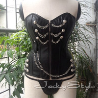 Black Leather Corset with Zipper Closed Front Steampunk Stylish Silver Chain Details Cotton Lining Comfortable High-end Leather Fashion