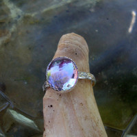 Ring - Alexandrite color change blue to pink 12x10mm zandrite eco-friendly  sterling silver  and lab stone - Custom Made in your Size