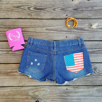 American Flag Pocket Jean Shorts