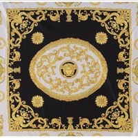 DCCKWA2 NEW AUTHENTIC VERSACE SILK SCARF Black & Cream Silk Paisley Pattern Scarf