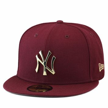 New Era New York Yankees Fitted Hat MAROON/GOLD BADGE jordan 11 red velvet