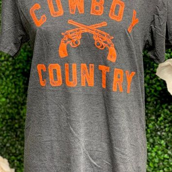 Oklahoma State Cowboy Country Crew Neck Tee l Dark Heather Grey