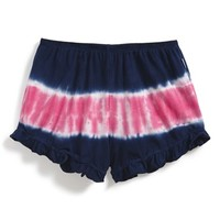 Girl's T2 Love Tie Dye Ruffle Shorts,